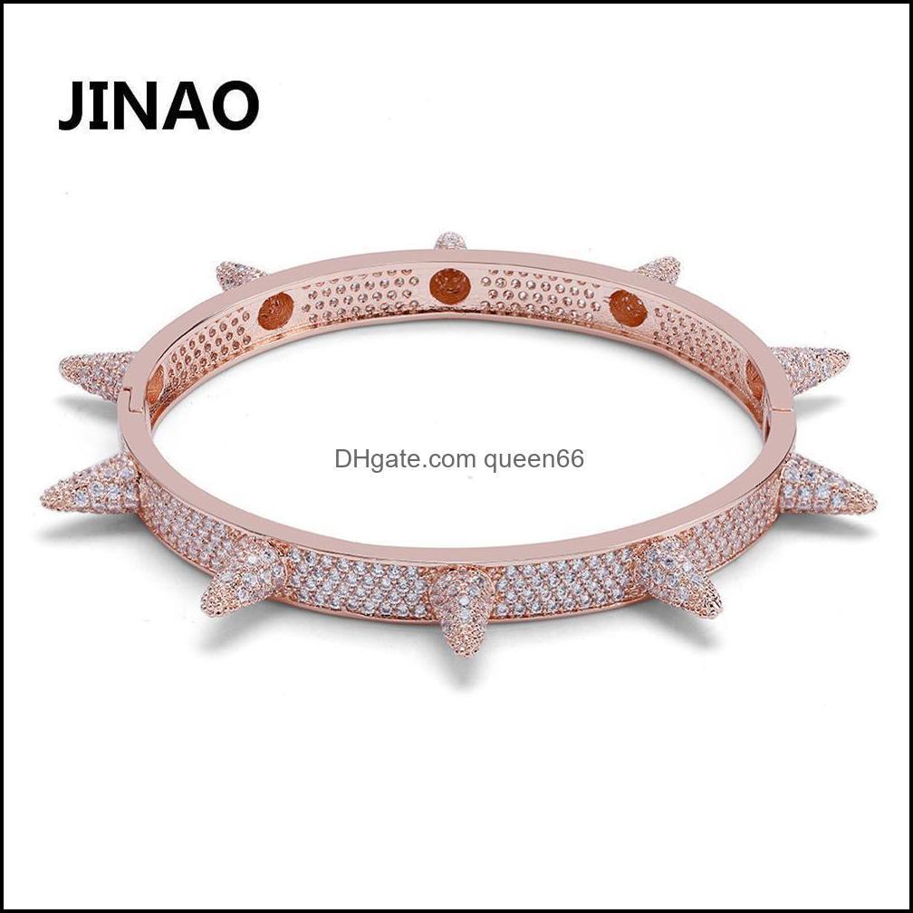 Luxury Iced Out Bling Cubic Zircon Hip Hop Rose Gold Silver Color Rivet Bracelets Spike Bangles Gifts for Men Women