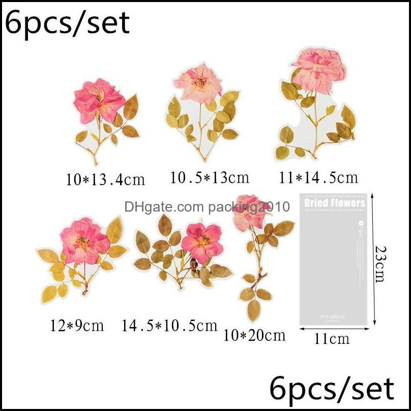 6 Pcs/set Vintage Leaves Flowers Series Stickers Journal Hand Account Book Card Postcard Decoration Scrapbooking Stickers1