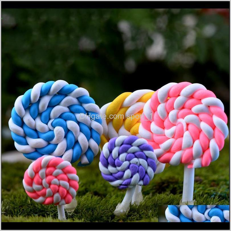 colorful polymer clay lollipops soft clay diy assembled toys miniature fairy garden decoration micro landscape accessory cactu planter