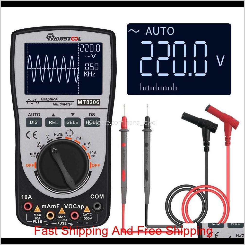upgraded 2 in 1 mt8206 mustool intelligent digital oscilloscope multimeter with analog bar graph 200k high-speed a/d sampling