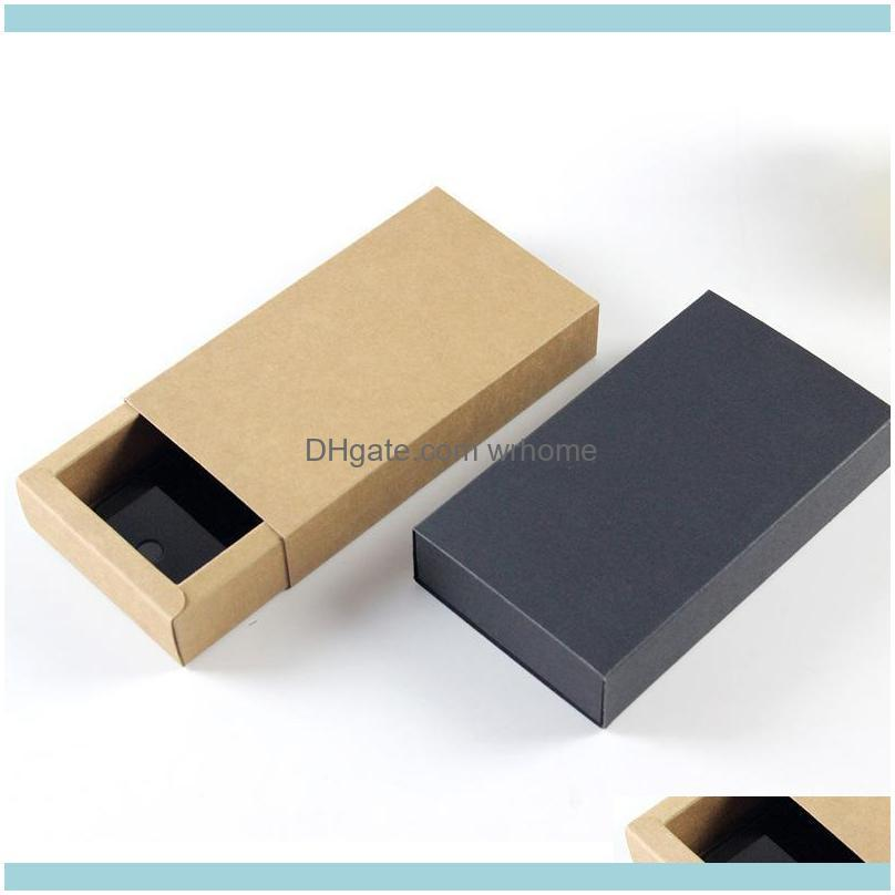 Gift Wrap 14*7*3cm Black Brown Drawer Shaped Boxes Kraft Paper Cardboard Packaging Box For Bow Tie Accessories