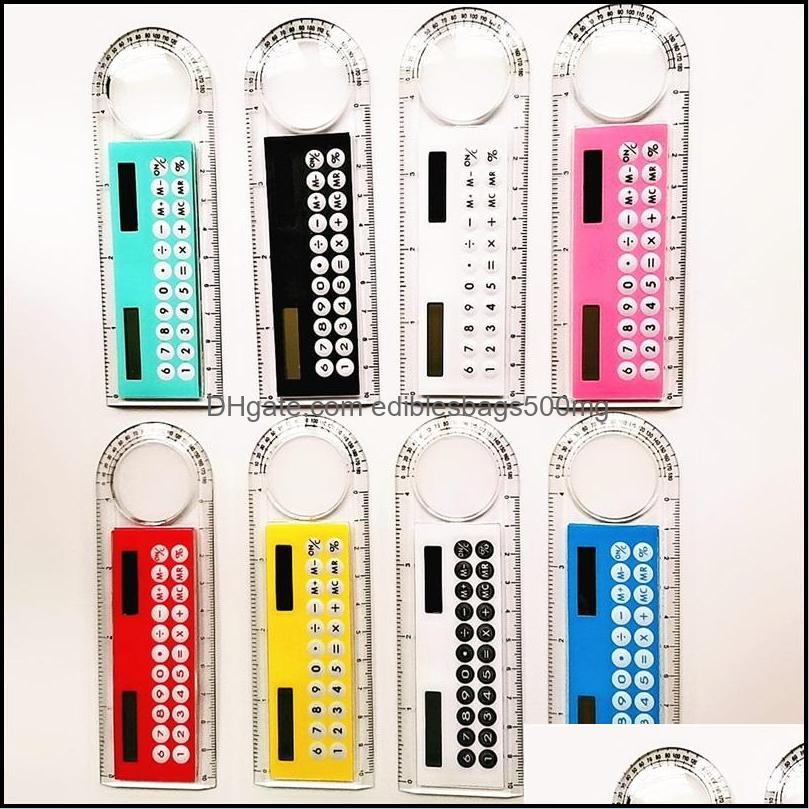 Mini Colour Calculator Multi Function Calculating Machine With Magnifying Glass Transparent Computing Counter Measurable Angle Ruler 2 2sh