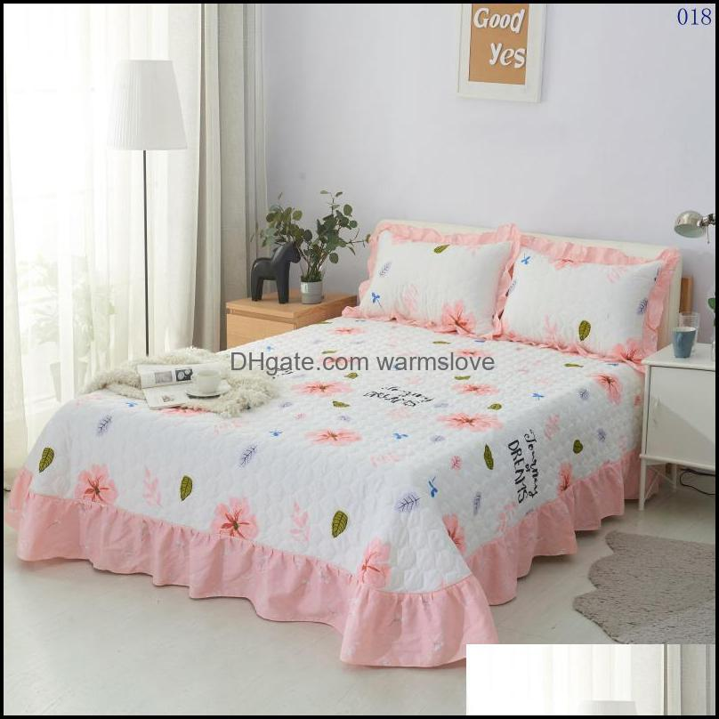 Sheets & Sets Home El Bedroom Thicken Quilted Cotton Flat Sheet Flower Bedspread Bedding Linens Bed Case Set Full Queen King