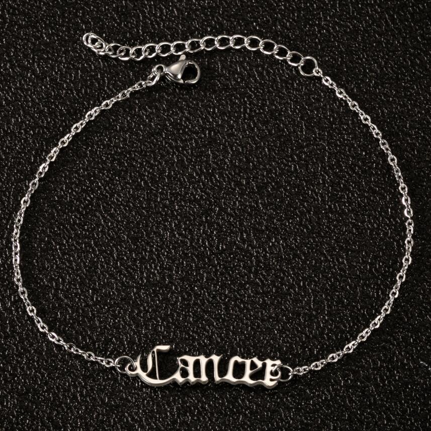 12 Zodiac Ankle Bracelets for Women Hip Hop Jewelry Women Constellation Gold Adjustable Anklet Stainless Steel Bracelets