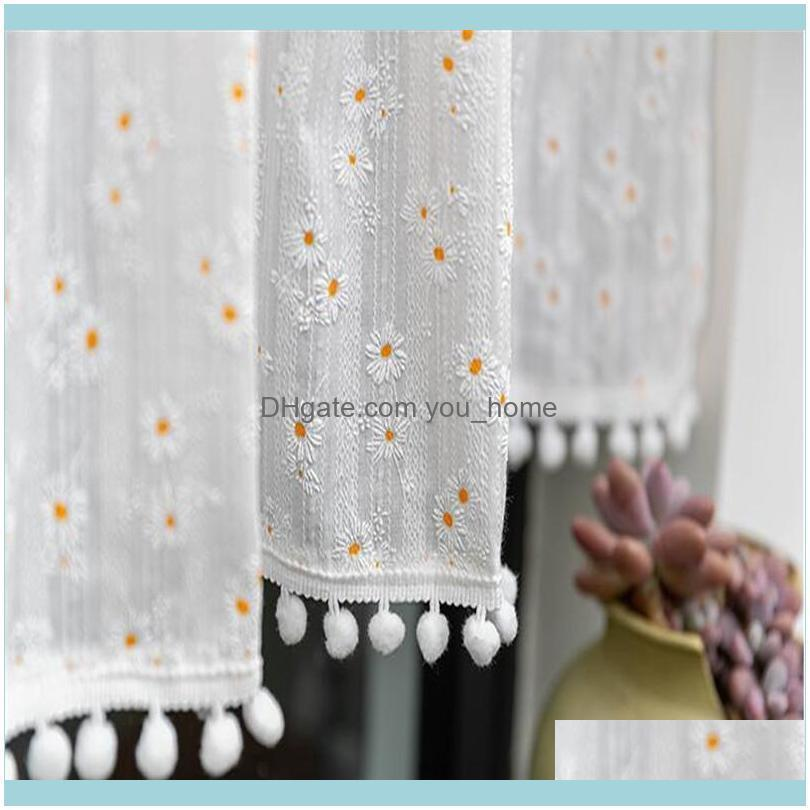 Quality Pastoral Little Flower Curtain Lovely Lace Coffee Shades Kitchen Short Small Closet Drapes Purdan Valance
