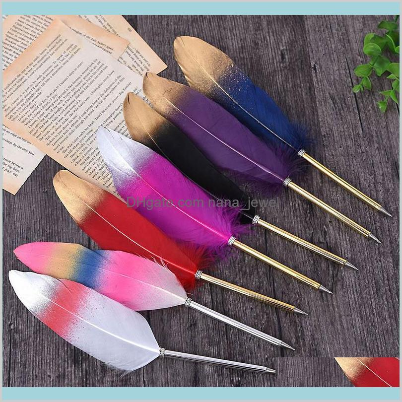 fashion accessories cute feather ballpoint pen kawaii signature ball point pens stationery for kids student gift school supplies