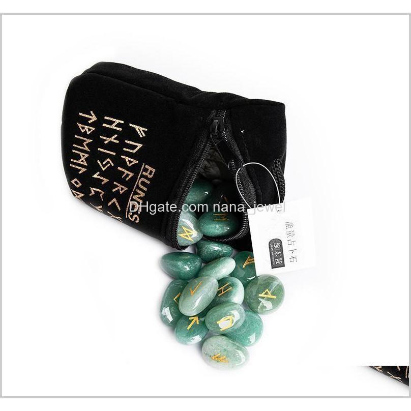 25pcs natural rune stones for divination crystal stones quartz chakra energy stones rune qylxoe