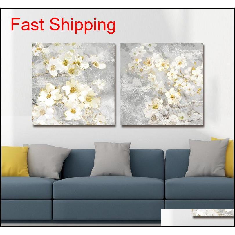 dyc 10059 2pcs white flowers print art ready to hang paintings