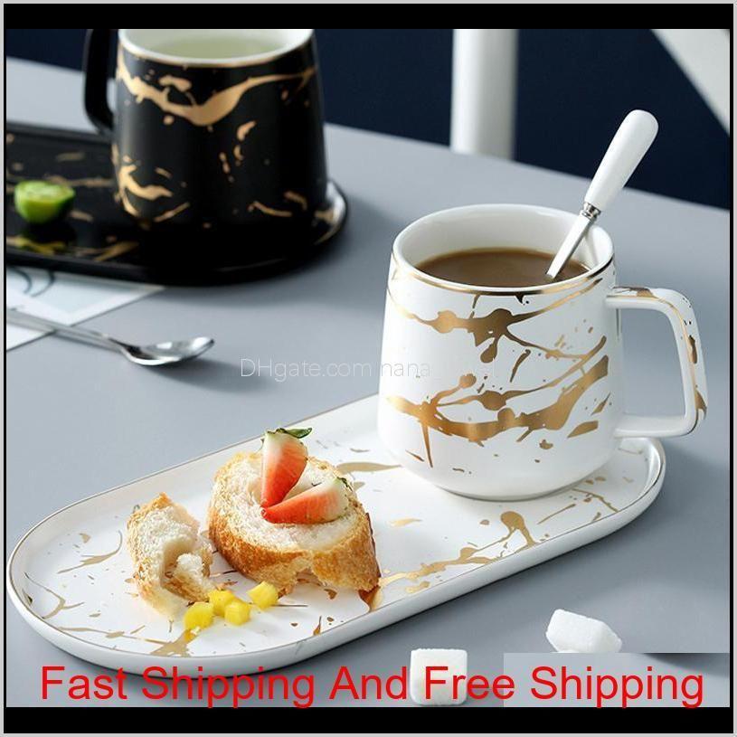 muzity ceramic milk with breakfast plate porcelain marbletea mug and saucer one person set q1222
