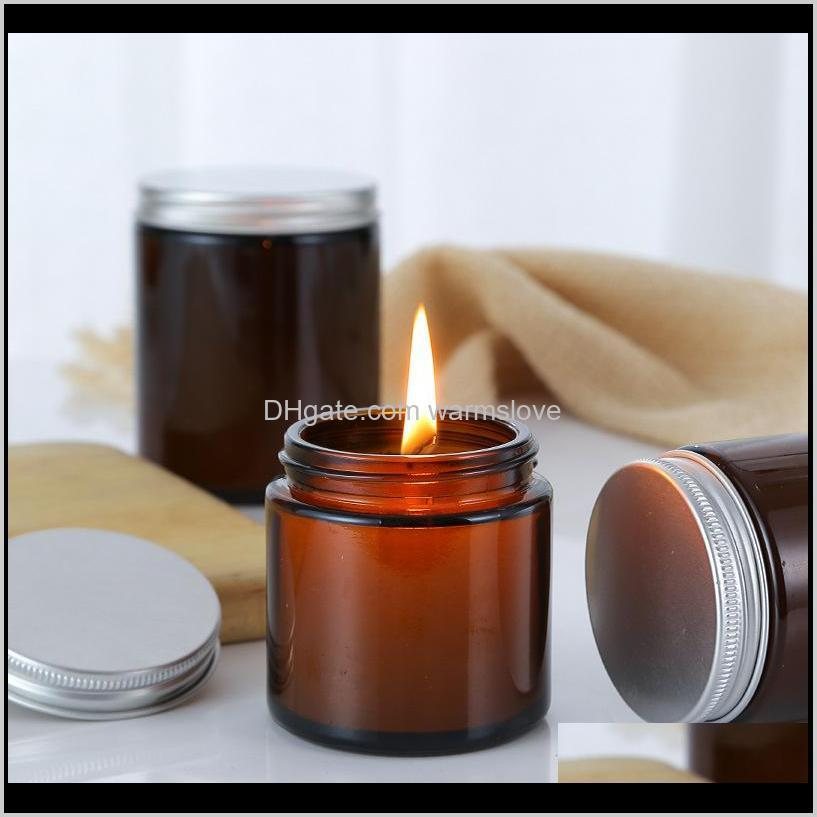 wholesale 100ml 250ml brown glass bottle candle jar aromatherapy large mouth brown candle cup empty bottle diy homemade bottle