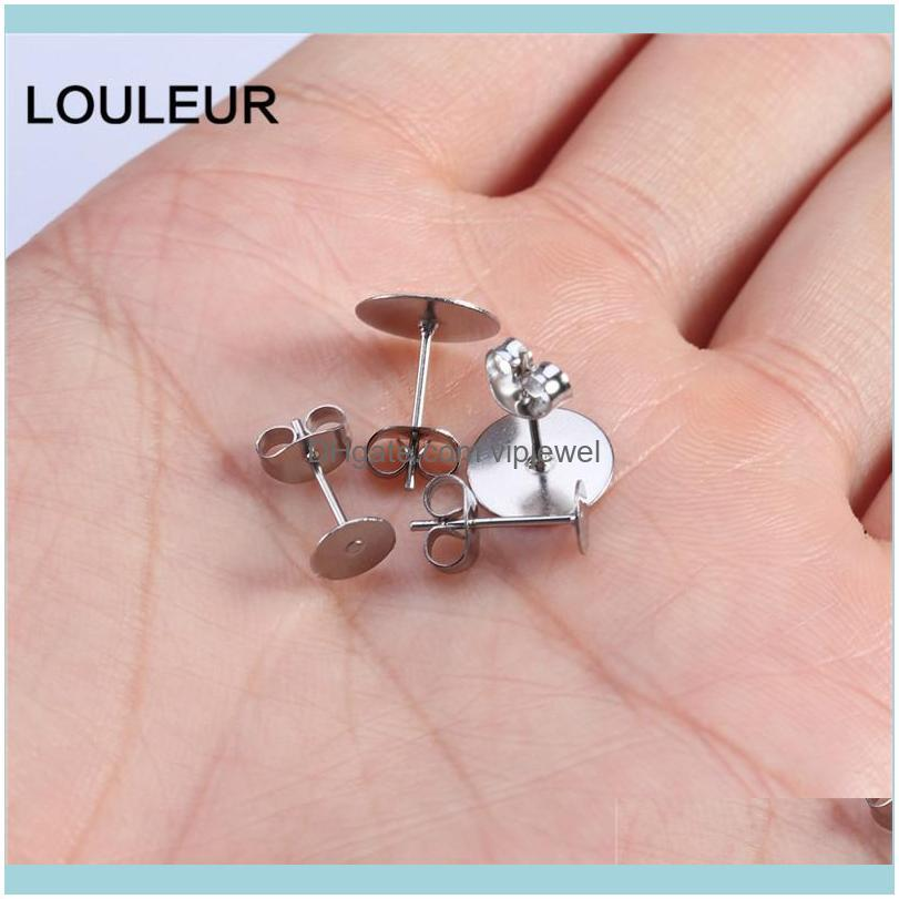 Real Gold Plated Stainless Steel Blank Post Earring Studs Base Pins With Plug Findings Ear Back For DIY Jewelry Making