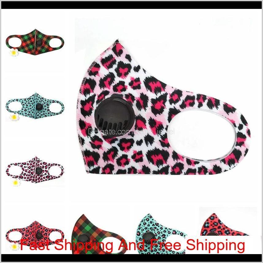 leopard pm2.5 face masks with breathable valve washable dustproof adjustable mask printing cotton face mouth masks rra3326