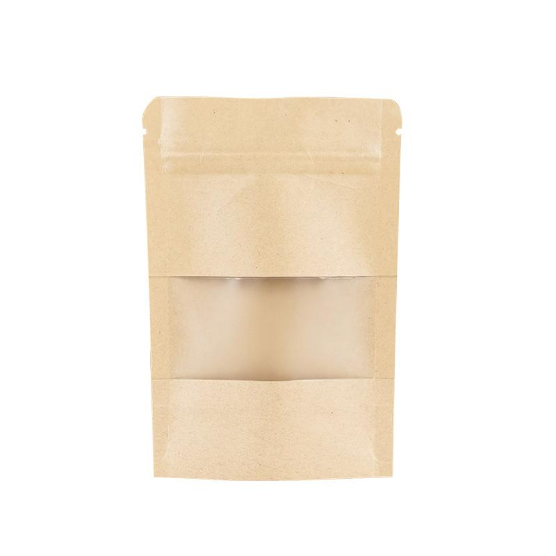 300pcs Lot Kraft Paper Ziplock Package Bag Woth Clear Window Party Mini Crafts Storage Pouches Reclosable Snack Nuts Zipper Bags