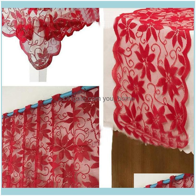 1pc Europe Red Lace Curtain Window Tulle Curtains For Living Room Kitchen Modern Treatments Voile Christmas Decor & Drapes