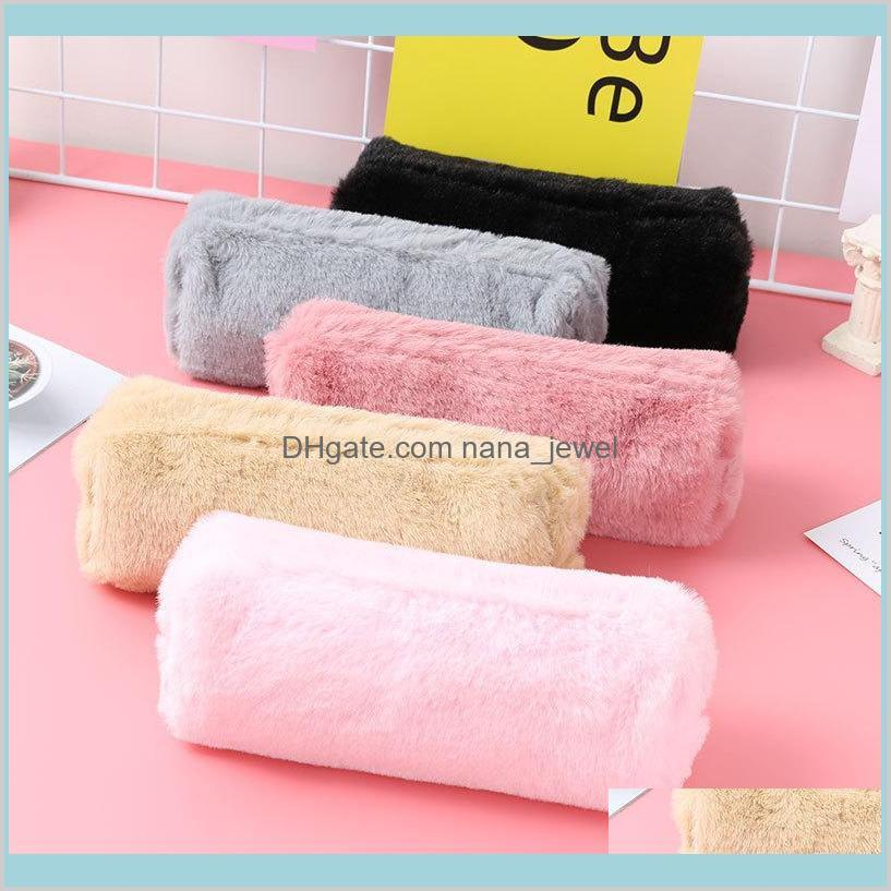 kawaii pencil case pink plush cute solid color pencil case for girls pencil bag stationery pencilcase lovely school supplies