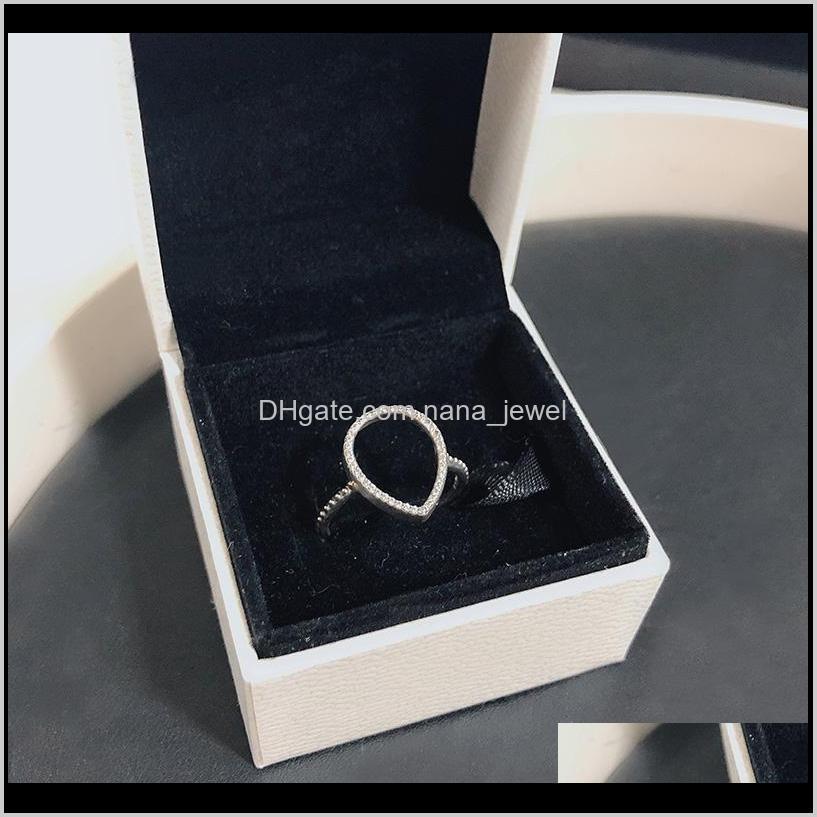 women`s teardrop hollow silhouetete ring cz diamond jewelry for pandora 925 sterling silver wedding rings with original box set