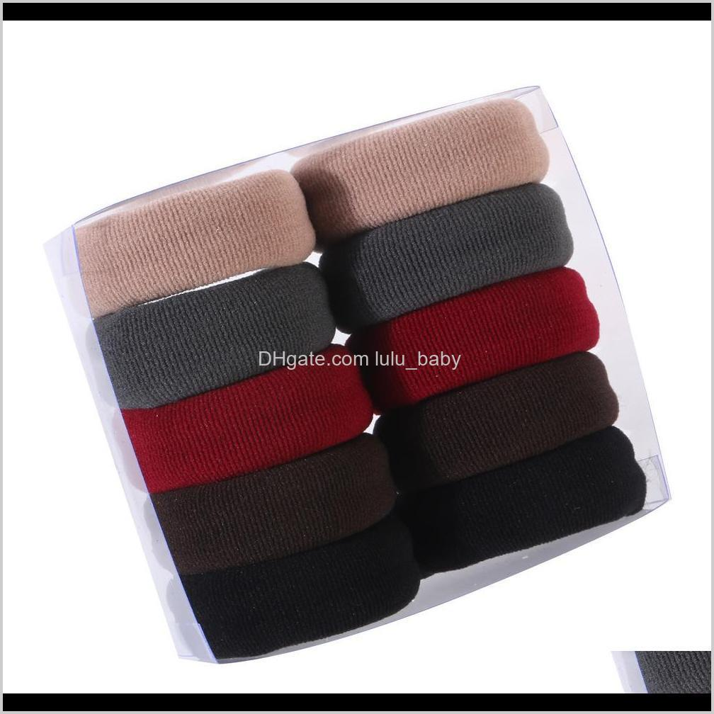 10pcs women girls high elasticity medium thick rolled towel hair rope candy solid color rubber band ring ponytail holder