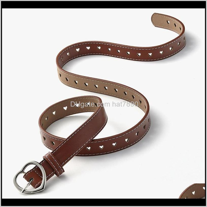 Women Belts Heart Fashion Buckle Pu Leather Girls Waist Strap for Jeans Trousers Casual Black Female Waistband