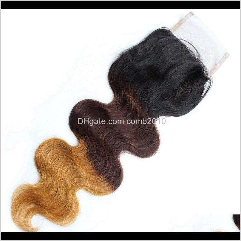 brazilian body wave ombre t1b/4/27 lace closure baby hair middle part part 3 part lace top closure