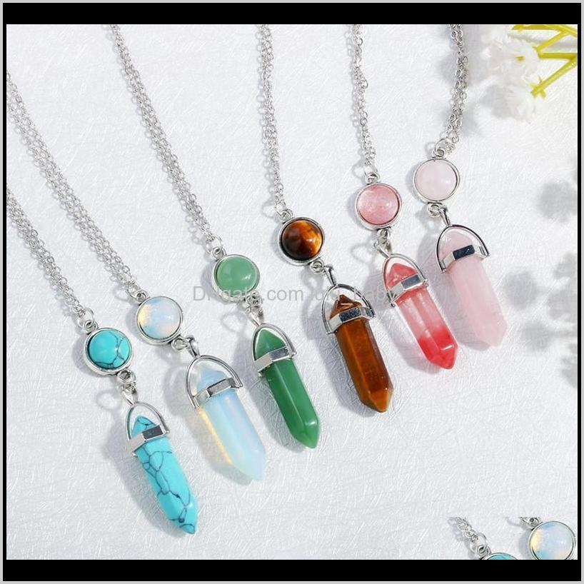 natural gemstone pendants necklace opal rose quartz healing crystals jewelry for women girls