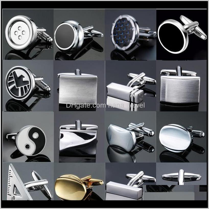 classic design men`s french shirt cuff button high quality copper silver metallic black enamel cufflinks laser metal cufflinks