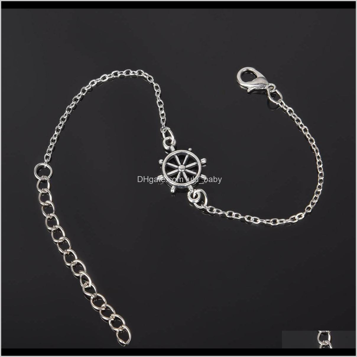 simple retro ankle bracelet chain love owl feather handcuff bicycle star anklet charm fashion jewelry for women drop shipping