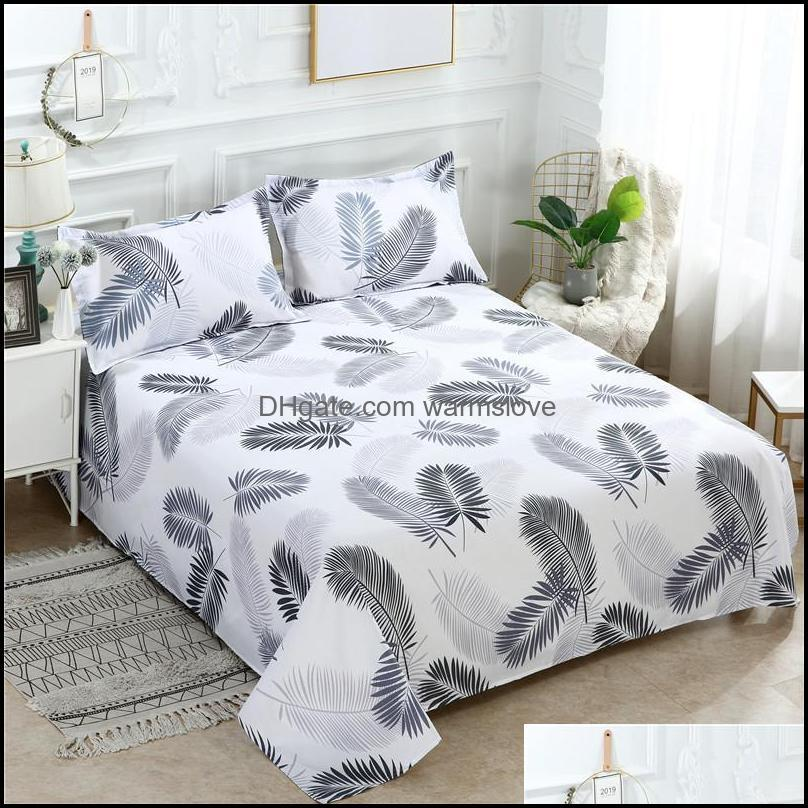 Sheets & Sets 34 3 Pcs Bed Set 1 Pc Sheet + 2 Case Queen King Twin Size Cotton/Polyester Flat Linen Fitted Bedsheets