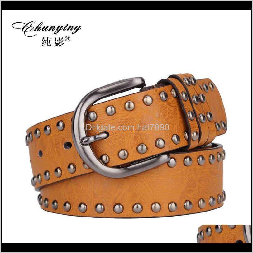 Color Multi Punk Rock Dot Rivet Pu Belt for Women Female Dress-match Leather Belts Cintos Masculinos Male Strap
