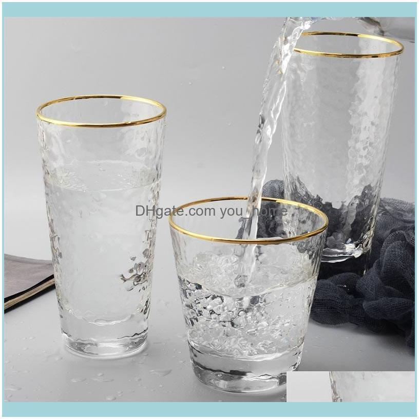 Gold Inlay Edge Glass Cup Coffee Milk Tea Whiskey Stemless Wine Water Glasses For Drinking Creative Gift Drinkware