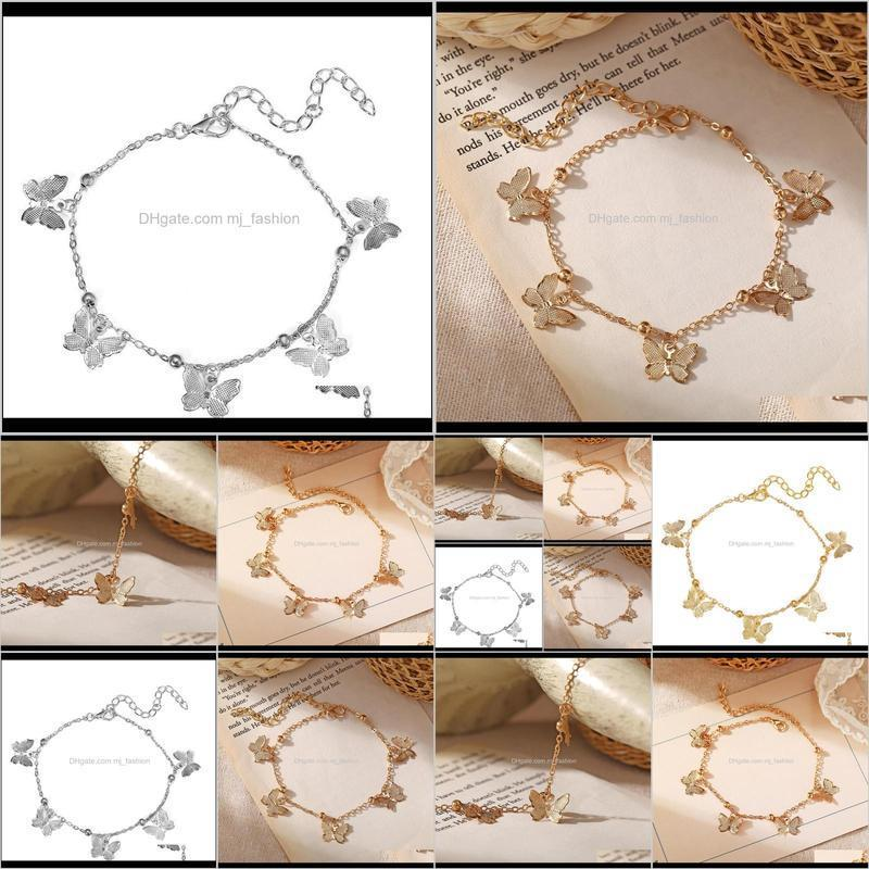 hot foot jewelry temperament hollow butterfly double diamond tassel foot chain rose gold anklet gold