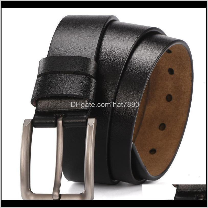 Men`s Needle Buckle, Belt Double-layer Pants, Jeans and Belt, Pure Cow Leather