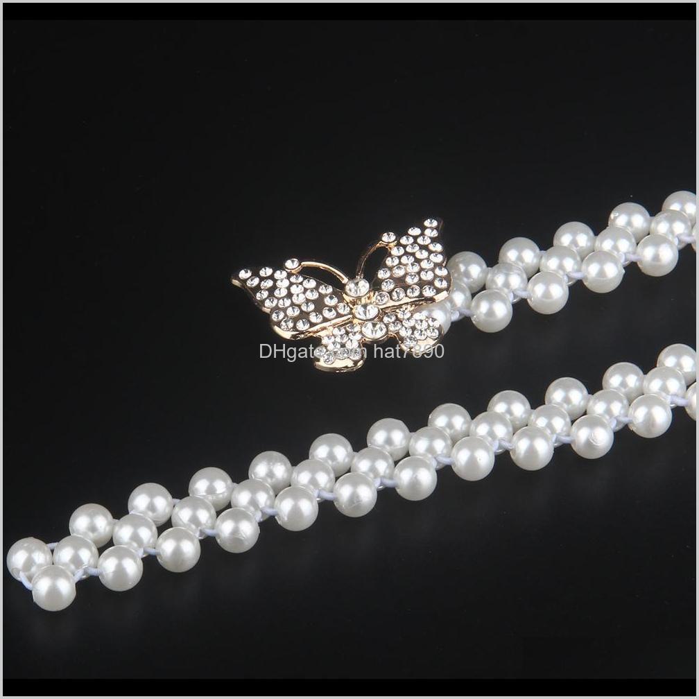 Rhinestone Waistband Elastic Force Women Girdle Butterfly Artifical Pearl Belt Waist Seal Autumn Exquisite Fashion 5 3hy O2