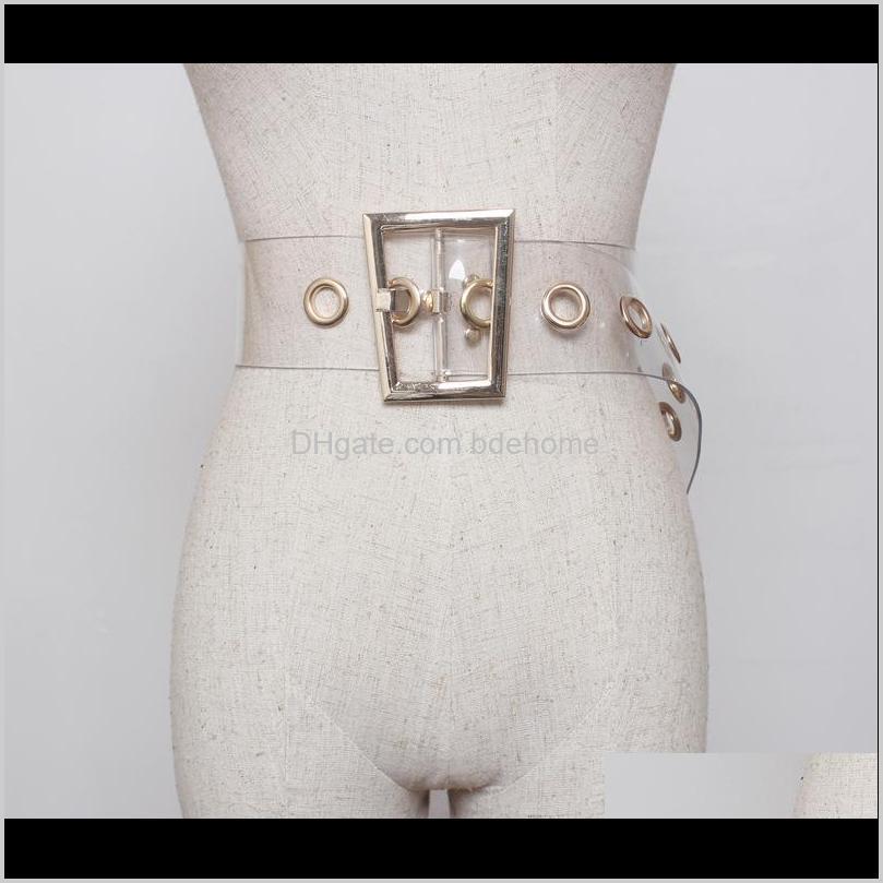 plus size transparent belt ladies waist clear belts for women trapezoid gold buckle wide corset cummerbunds big dress belt 2020 537 t2