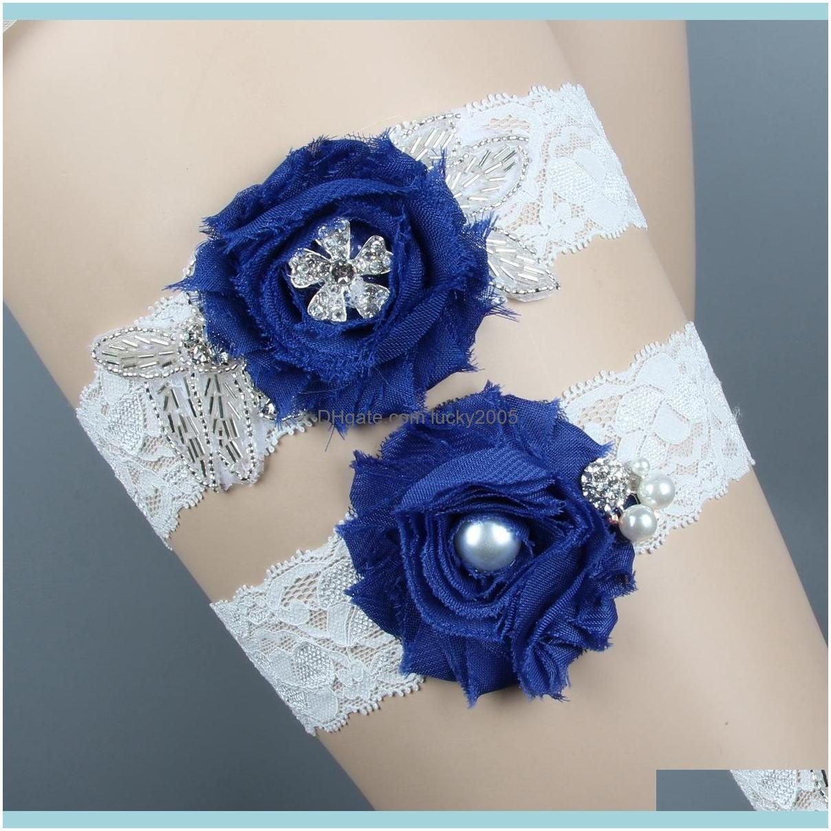 royal blue wedding garters set for bride bridal garters chiffon handmade flower rhinestones vintage prom gift 2019 cheap in stock