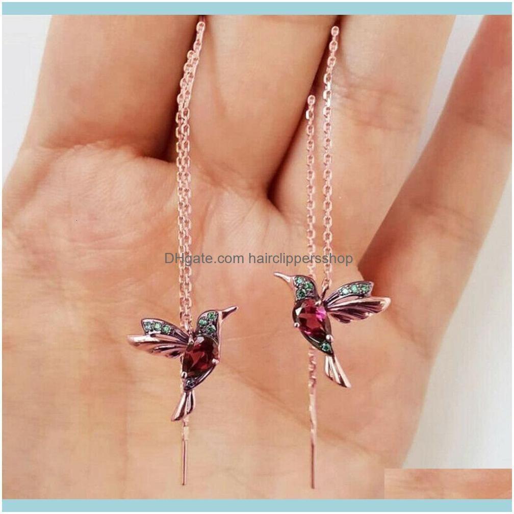 Unique Birdie Animal Ear Stud Earrings Long Tassels Crystal Earring for Women Hoop Rhinestone Dangle Wedding Jewelry