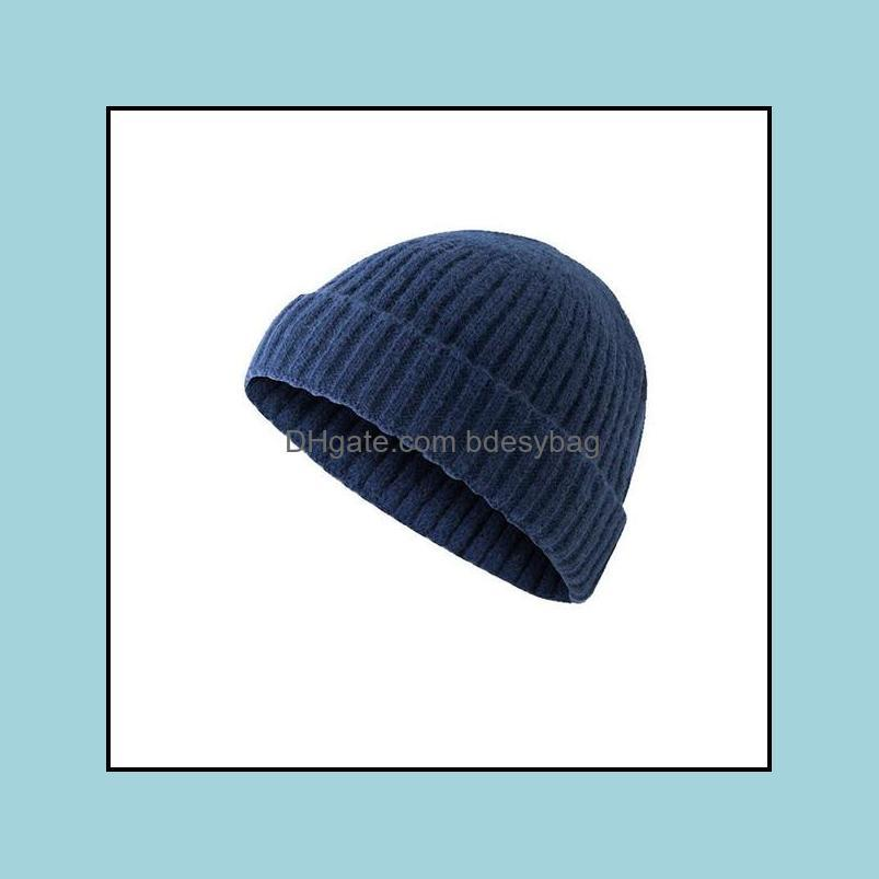 New Unisex Beanie Hat Ribbed Knitted Cuffed Winter Hat Warm Short Beanie Casual Solid Color Skullcap Baggy For Adult Men