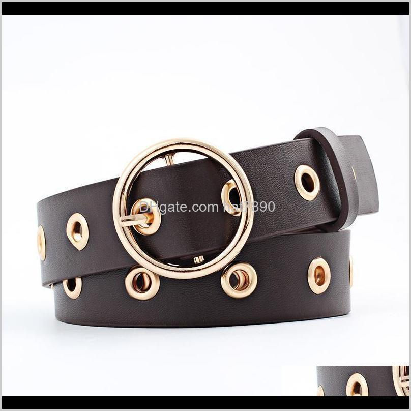 Buckle Round Women Belt Fashion Leather for Black Pink White Blue Red Ladies Accessories Belts