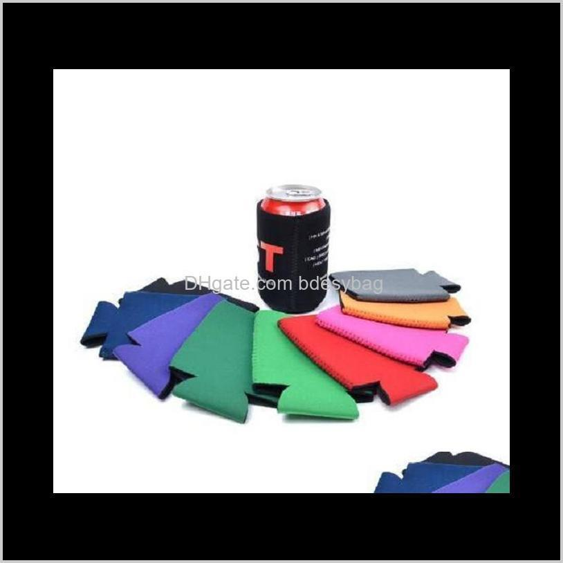 solid color neoprene foldable stubby holders beer cooler bags for wine food cans cover kitchen tools