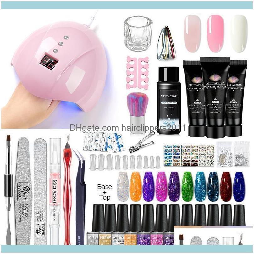 ACROSS 10pcs Nail Gel Polish Kit With Set UV LED Lamp Dryer Soak Off Manicure Tools Electric Drill Tool1