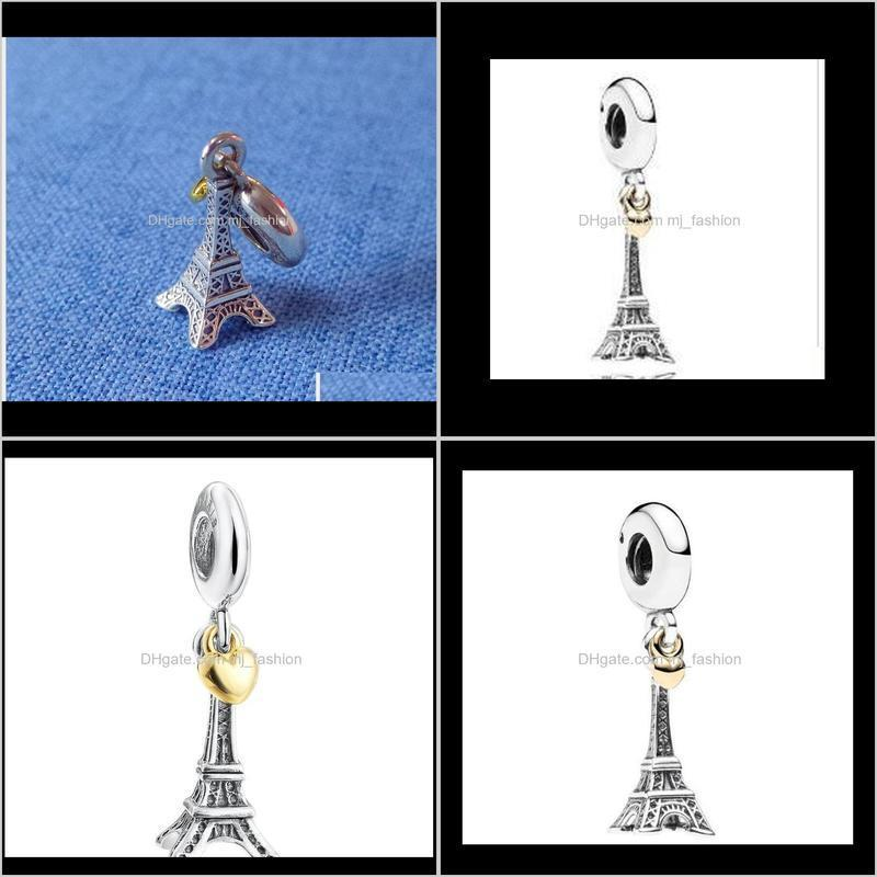 fine jewelry rterling silver eiffel tower dangle charms pendant with 14k gold plated heart for women fits european bracelets 2063
