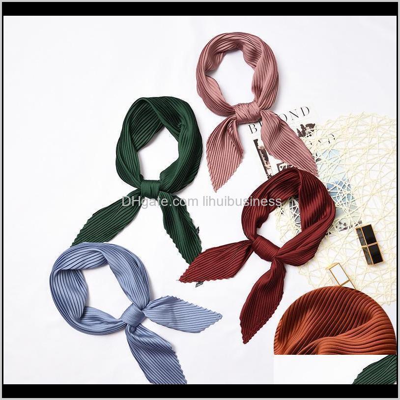 2021 plain women square silk scarf skinny ribbon head neck small pleated hair tie band kerchief satin foulard scarves