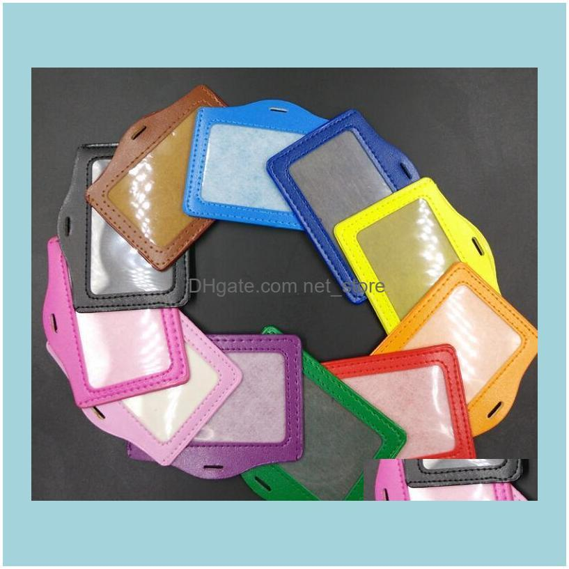 10.5*8cm Square Credit Card Holders Without Zipper Bus ID Holders Identity Red Yellow Blue Badge with Retractable Reel