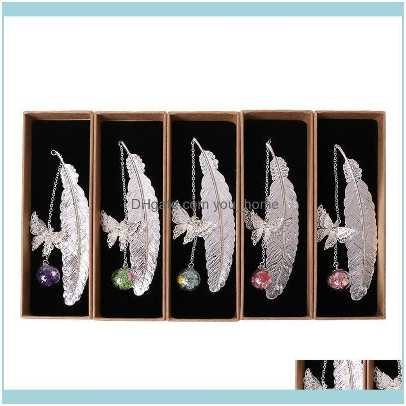 Retro Vintage Feather Butterfly Metal Bookmarks Label Book Mark Stationery Handmade DIY Art Craft Accessories Gift M5TE Bookmark