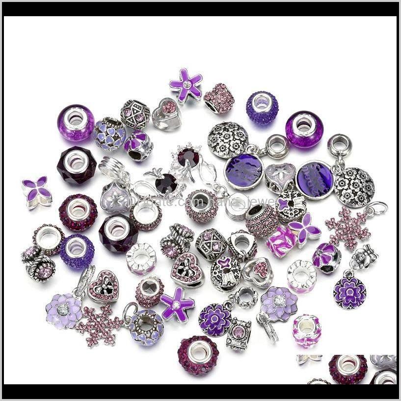 50pcs/lot crystal big hole loose spacer craft european rhinestone bead pendant for charm bracelet necklace fashion diy jewelry making