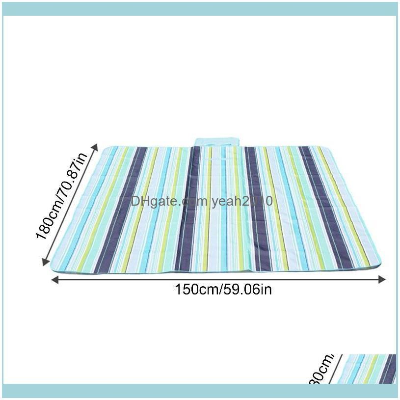 150*180cm Camping Blankets Waterproof Oxford Cloth Picnic Mats Striped Color Grid Cushion For Child Play Spring Machine Outdoor Pads