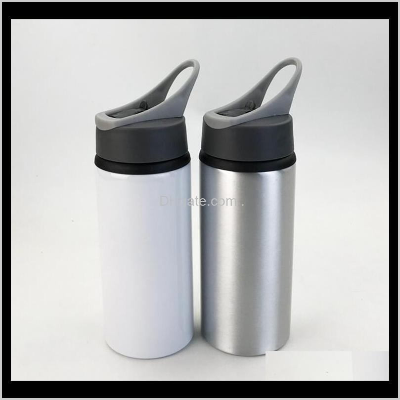 sublimation aluminum blanks water bottles 600ml heat resistant kettle sports white cover cup big mouth suction nozzle sea shipping