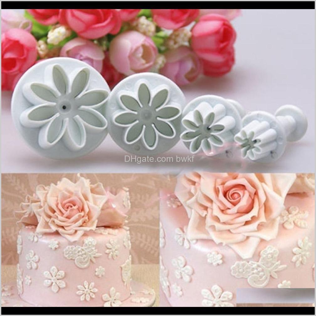 4pcs plum flower plunger fondant mold cutter cake cookie decorating fondant cookie cutter