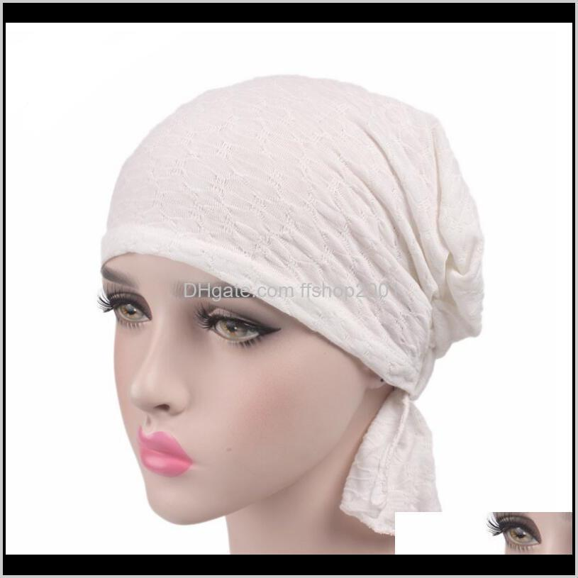 2020new women turban hats india caps beanies head wrap chemo hats bandana knotted women headwear