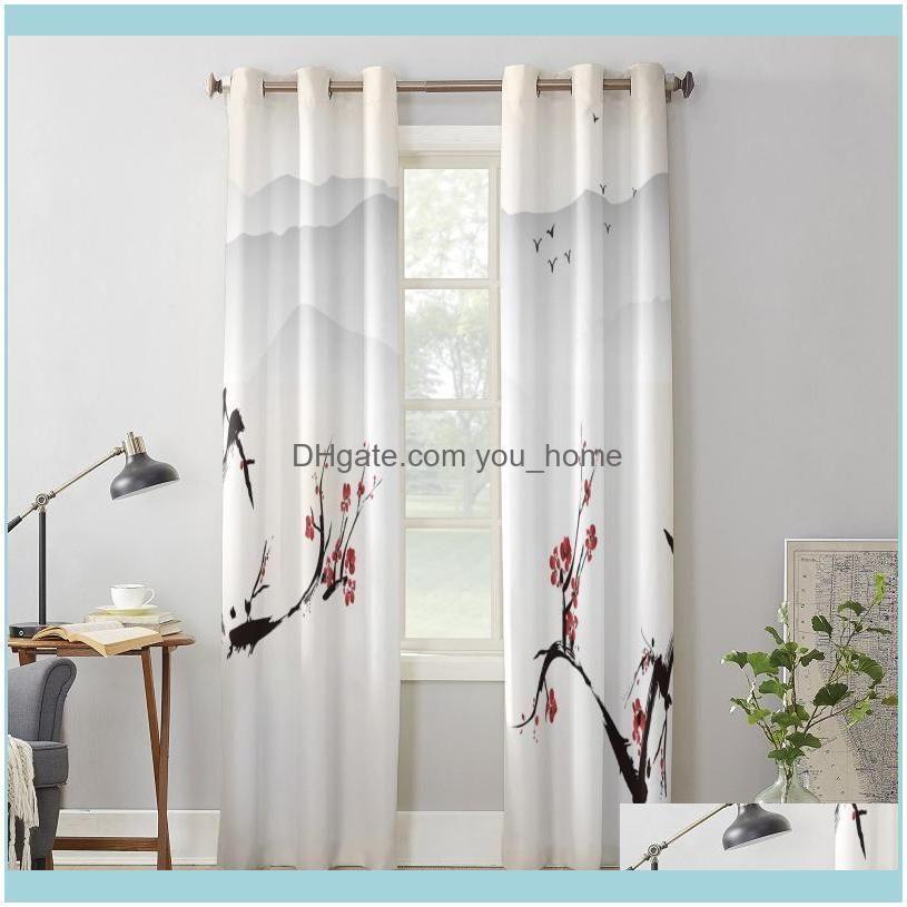 Luxury Modern Window Curtains Plum Blossom Bird Ink Bedroom Living Room Dining Decoration Translucent Beautiful Curtain & Drapes