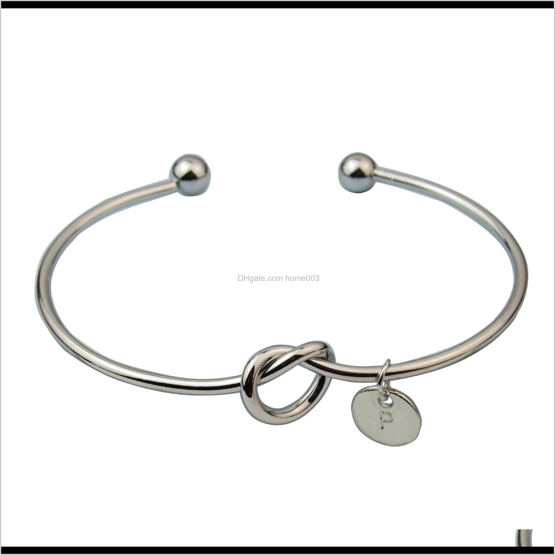 a-z 26 letters open bangles jewelry fashion women gir alloy knot heart pendant bracelets wholesale brief gold silver rose gold color